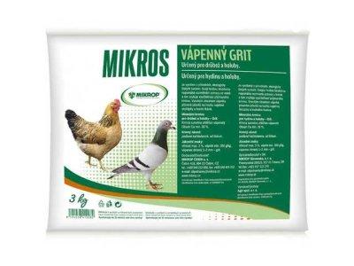 Mikros Grit vápenný pre hydinu a holuby, 3kg