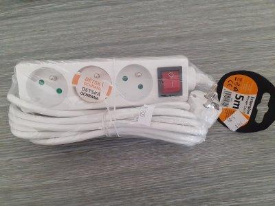 Kábel sieťový 3 zásuvky - 5m + vypínač - 250V 10A 3x1mm2