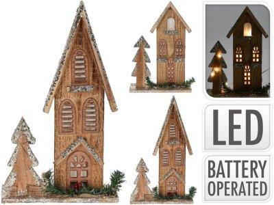 Vianočná dekorácia, dom s LED osvetlením, 21cm