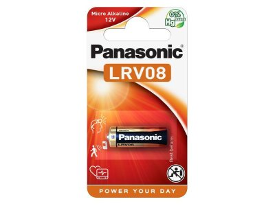 Bat. 12V / 23A Alkaline - Panasonic LRV08L/1BP 28x10mm, 38mAh