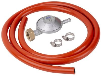 Regulátor plynu C31, 28-30 mbar, UK8 mm, EN16129, 2x spona, hadica 1,5 m