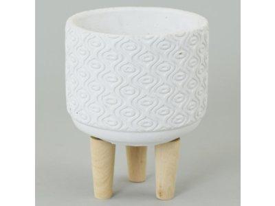 Kvetináč/obal cemntový WHITE, 23x17cm