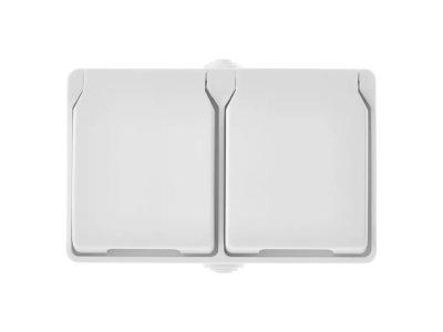 Zásuvka nástenná dvojitá, biela, IP44 EMOS