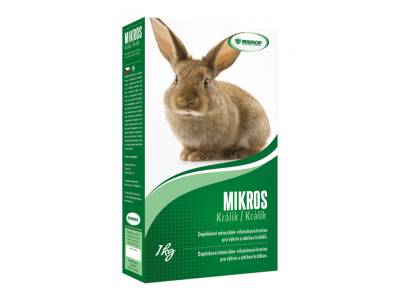 MIKROS Králik, doplnkové minerálno,vitamínové krmivo pre výkrm a odchov králikov,1KG