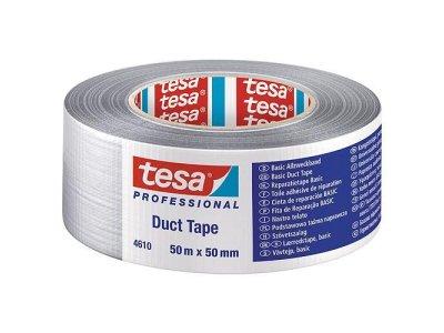 Paska tesa® BASIC Duct Tape, strieborná, textilná, 50 mm, L-50 m