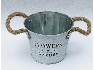 Vedierko/obal plechové FLOWERS väčšie, 15x12cm