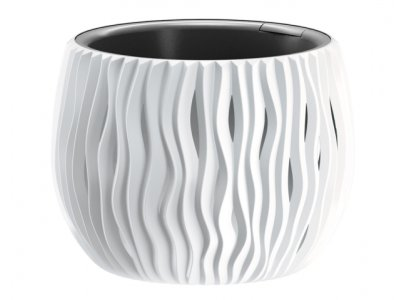 Kvetináč Prosperplast SANDY Bowl, 118x136 mm, biela, s vložkou