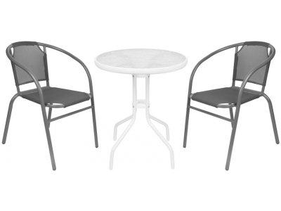 Set balkónový BRENDA, šedý, stôl biely 72x59 cm, 2x stolička 60x71 cm