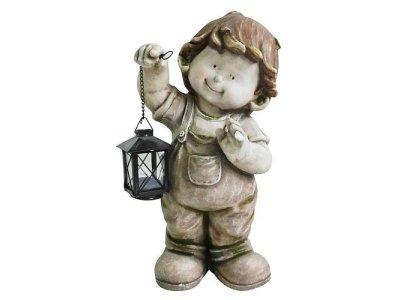 Dekorácia Gecco 8001, Chlapec s lampášom, magnesia, 43 cm