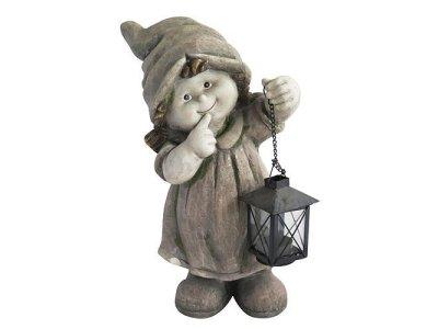 Dekorácia Gecco 8002, Dievča s lampášom, magnesia, 39 cm