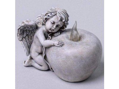 Dekorácia anjel LED 12x8x9,5cm polyres