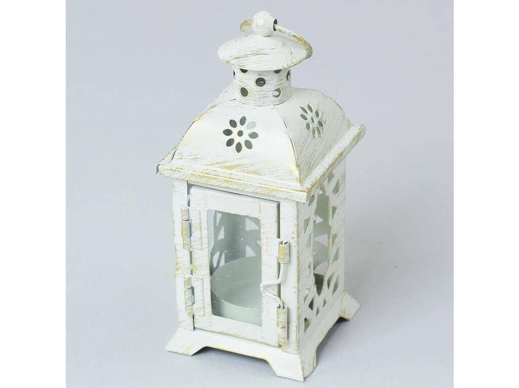 Lampáš svietnik na čajovú sviečku 6,5x6,5x14 cm kov+sklo